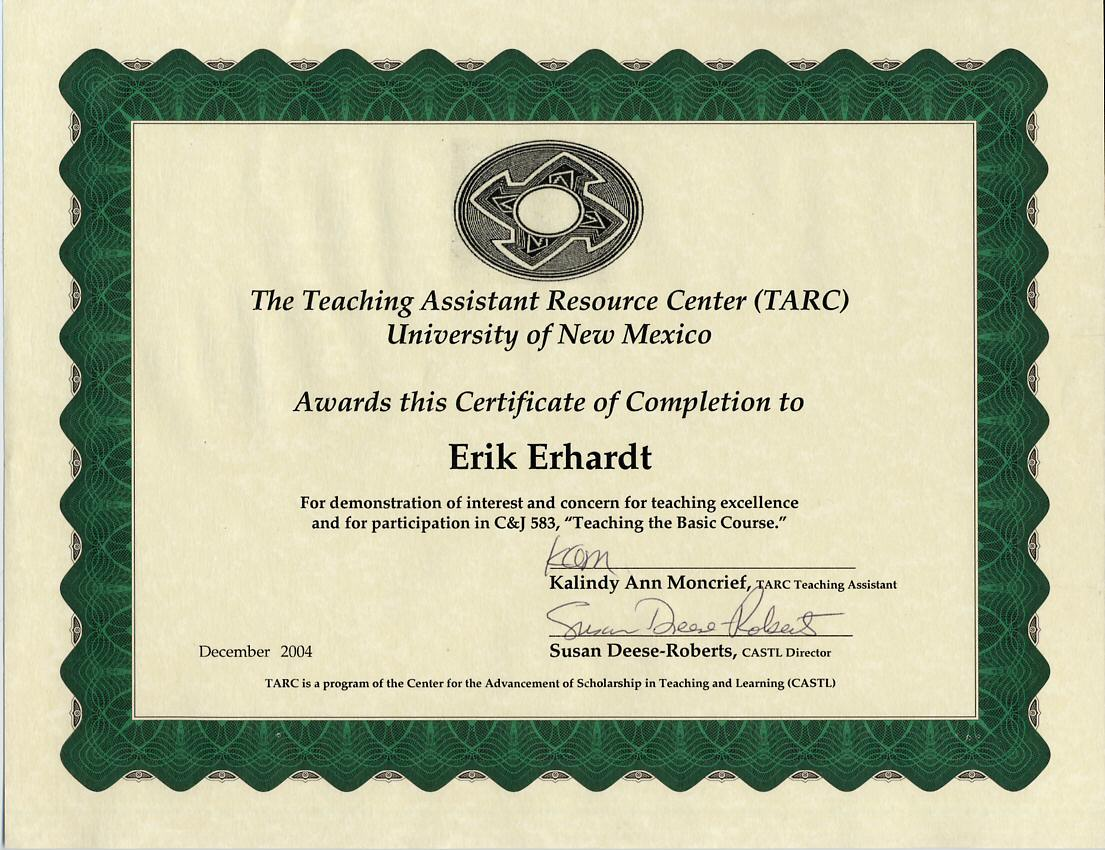 Teaching Excellence. cert