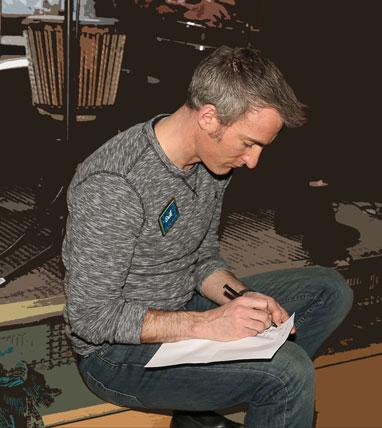Erik writing, Stellar Feb 2015