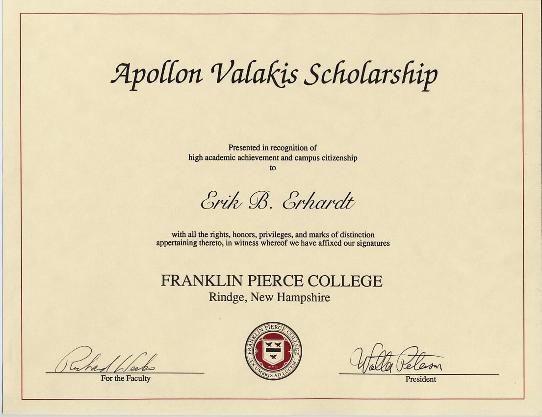 valakis scholarship franklin pierce college 1994 1995 certificate. Black Bedroom Furniture Sets. Home Design Ideas
