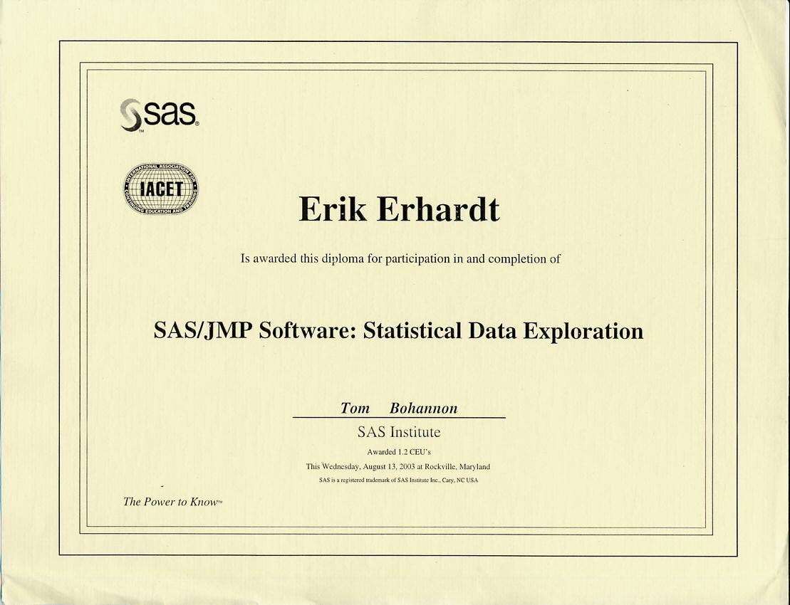 Erikberhardtsasjmpstatdataexplor2003g certificate sasjmp software statistical exploration august 11 2003 xflitez Gallery
